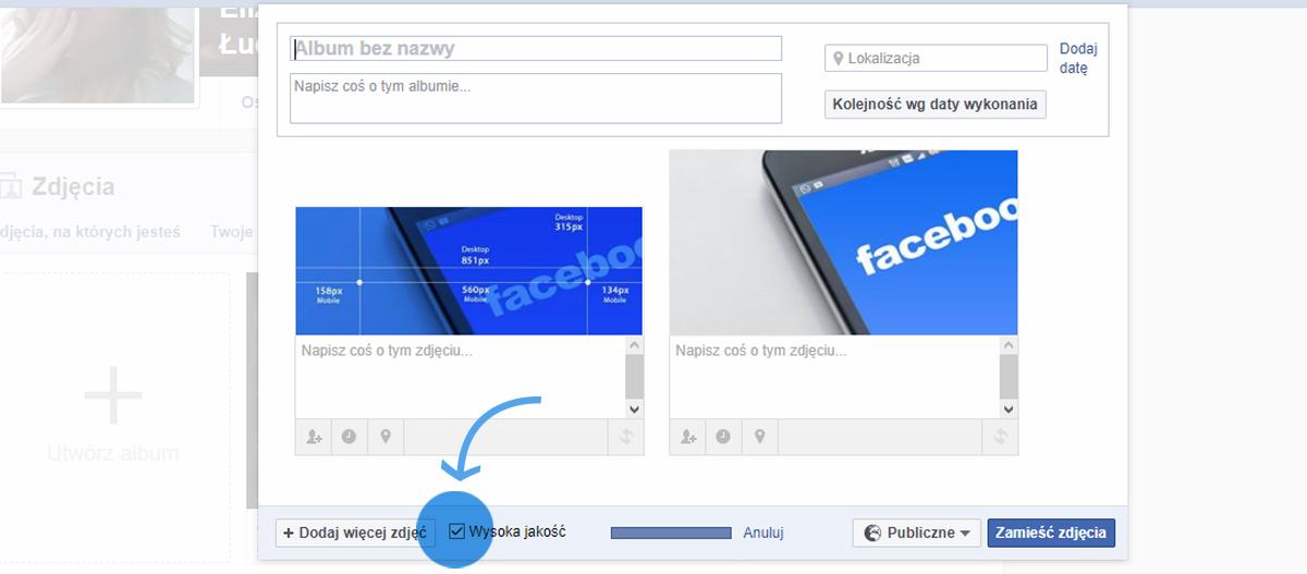 jakość zdjęć na facebooku
